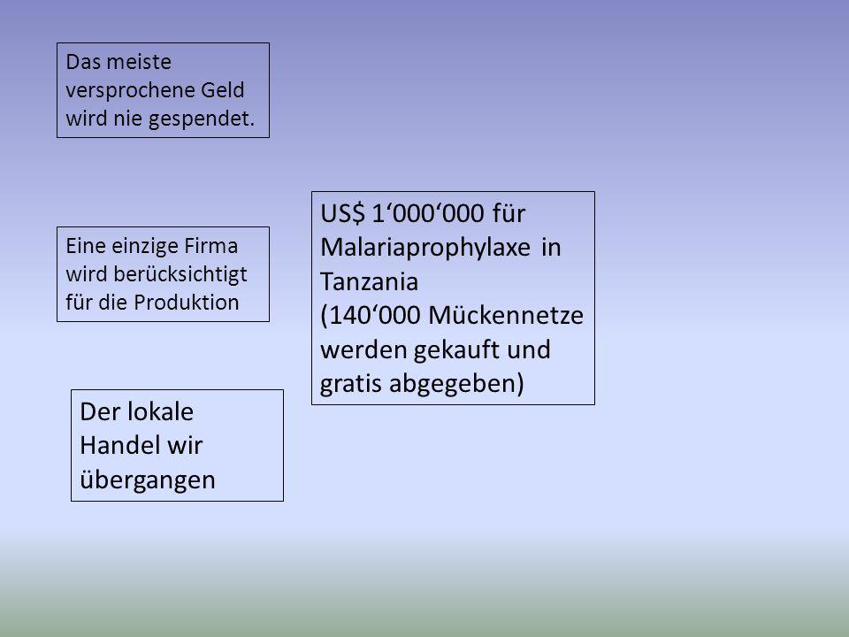 US$ 1000000 für Malariaprophylaxe in Tanzania (140000 Mückennetze werden gekauft und gratis abgegeben) Das meiste versprochene Geld wird nie gespendet