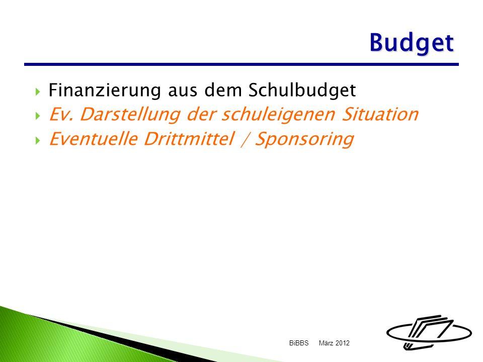 Finanzierung aus dem Schulbudget Ev.