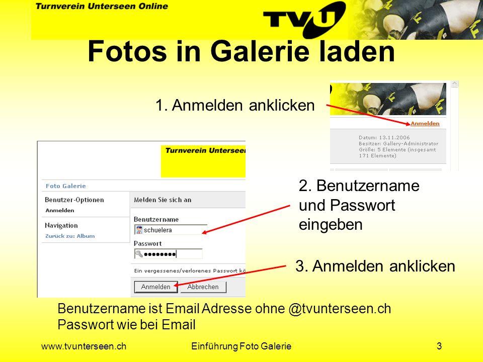 www.tvunterseen.chEinführung Foto Galerie14 TVU Galerie Anwählen und Weiter klicken