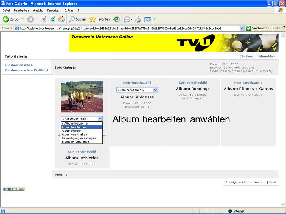 www.tvunterseen.chEinführung Foto Galerie5 Folgende Optionen stehen zur Verfügung Um Fotos hoch zu laden, Elemente hinzufügen anklicken