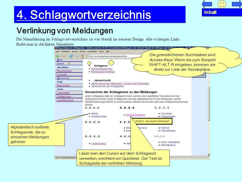 Verlinkung von Meldungen 4. Schlagwortverzeichnis Die Menuführung im Schlagwortverzeichnis ist wie überall im neueren Design. Alle wichtigen Links fin
