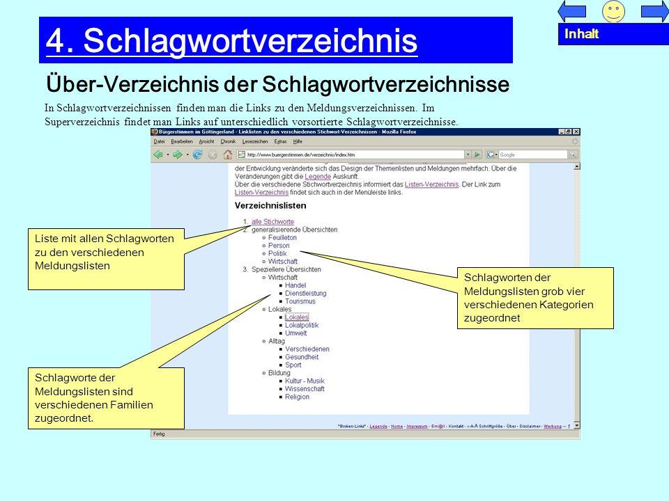 Über-Verzeichnis der Schlagwortverzeichnisse 4. Schlagwortverzeichnis In Schlagwortverzeichnissen finden man die Links zu den Meldungsverzeichnissen.