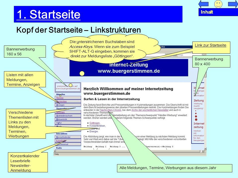 Mittelseite –Übersichtslisten und Meldungen 1.