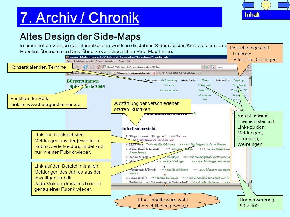 Altes Design der Side-Maps 7. Archiv / Chronik In einer frühen Version der Internetzeitung wurde in die Jahres-Sidemaps das Konzept der starren Rubrik