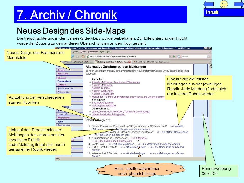 Neues Design des Side-Maps 7. Archiv / Chronik Die Verschachtelung in den Jahres-Side-Maps wurde beibehalten. Zur Erleichterung der Flucht wurde der Z