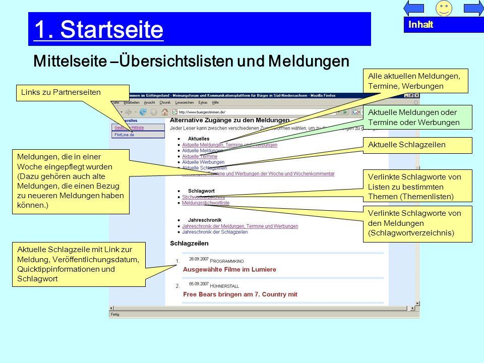 Mittelseite –Übersichtslisten und Meldungen 1. Startseite Links zu Partnerseiten Aktuelle Meldungen oder Termine oder Werbungen Alle aktuellen Meldung