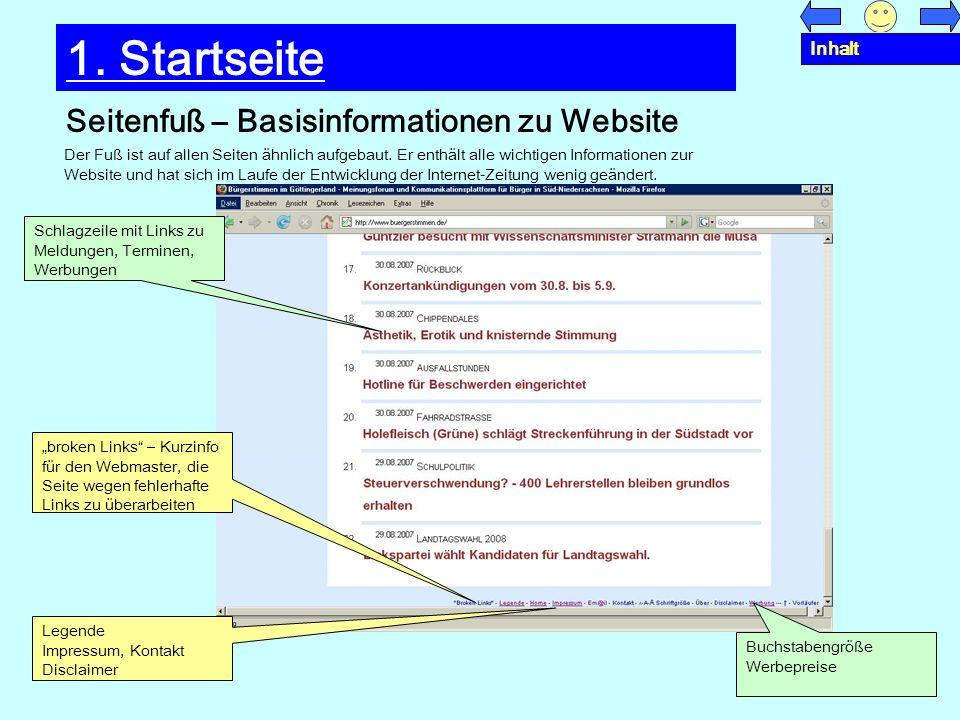 Seitenfuß – Basisinformationen zu Website 1. Startseite Schlagzeile mit Links zu Meldungen, Terminen, Werbungen broken Links – Kurzinfo für den Webmas