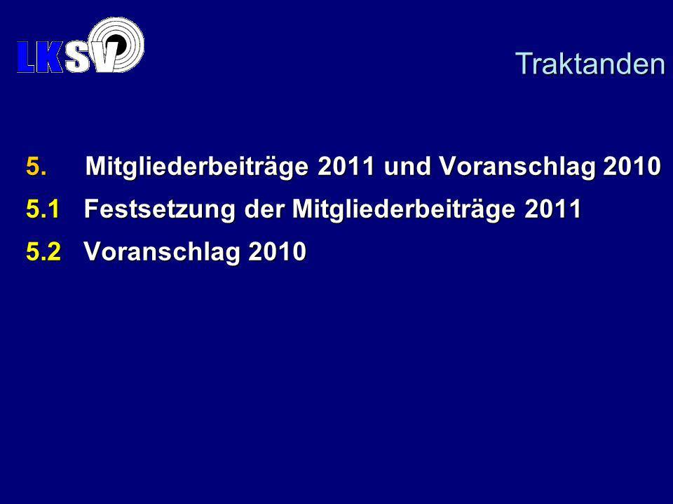 5.Mitgliederbeiträge 2011 und Voranschlag 2010 5.1 Festsetzung der Mitgliederbeiträge 2011 5.2 Voranschlag 2010 Traktanden