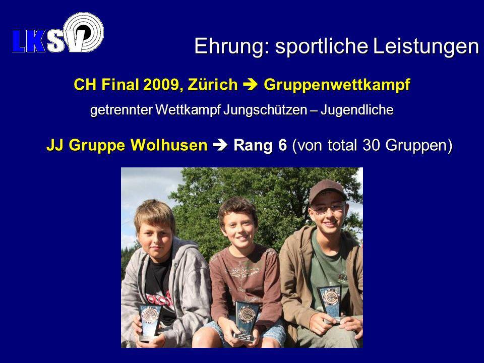 JJ Gruppe Wolhusen Rang 6 (von total 30 Gruppen) Ehrung: sportliche Leistungen CH Final 2009, Zürich Gruppenwettkampf getrennter Wettkampf Jungschützen – Jugendliche