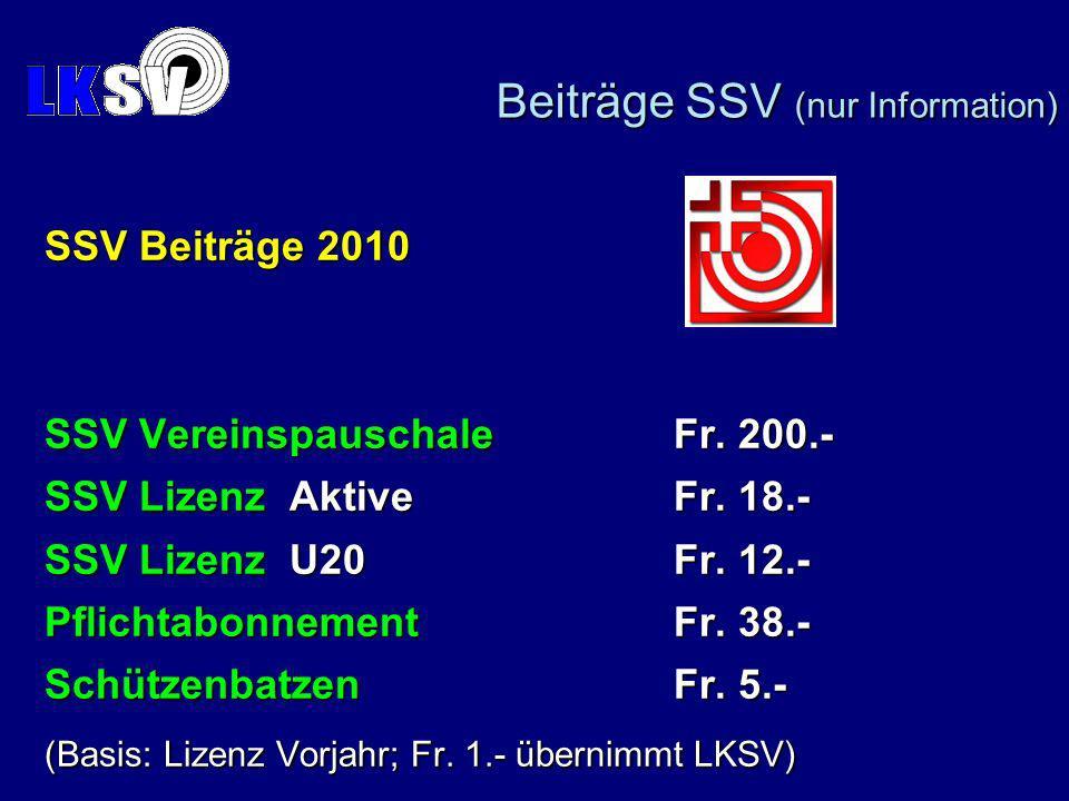 SSV Beiträge 2010 SSV VereinspauschaleFr. 200.- SSV Lizenz AktiveFr.