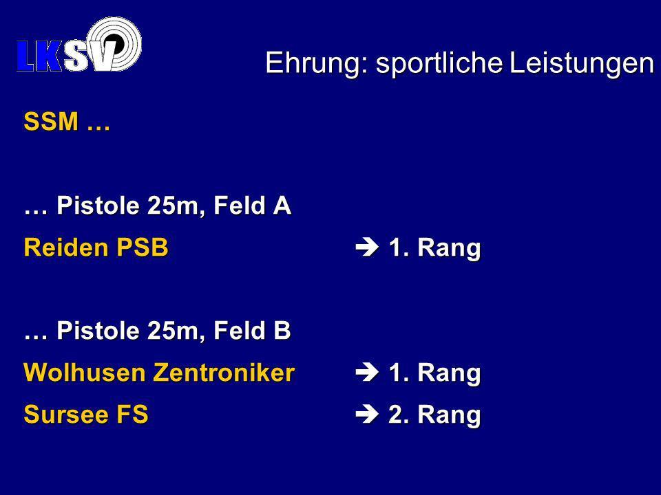 Ehrung: sportliche Leistungen SSM … … Pistole 25m, Feld A Reiden PSB 1.
