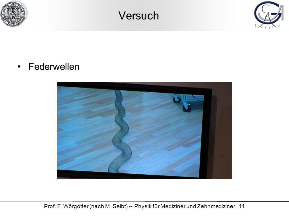 Prof. F. Wörgötter (nach M. Seibt) -- Physik für Mediziner und Zahnmediziner 11 Versuch Federwellen