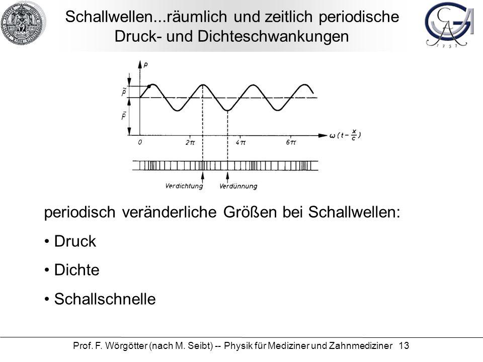 Prof. F. Wörgötter (nach M. Seibt) -- Physik für Mediziner und Zahnmediziner 13 Schallwellen...räumlich und zeitlich periodische Druck- und Dichteschw