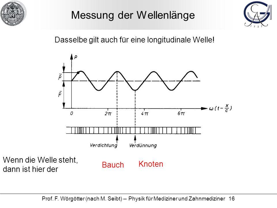 Prof. F. Wörgötter (nach M. Seibt) -- Physik für Mediziner und Zahnmediziner 16 Messung der Wellenlänge Wenn die Welle steht, dann ist hier der Knoten