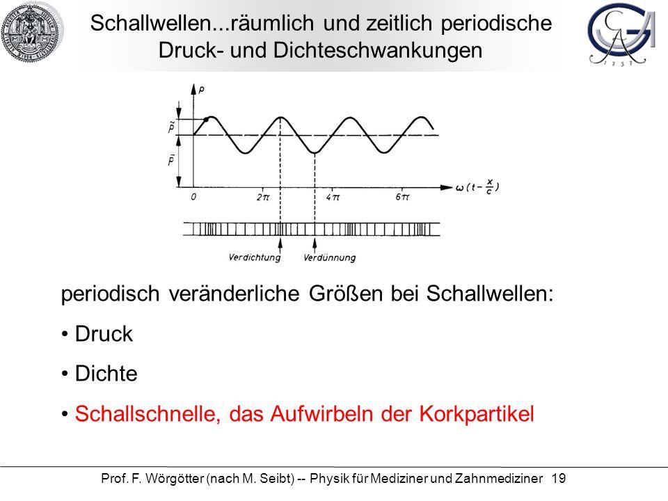 Prof. F. Wörgötter (nach M. Seibt) -- Physik für Mediziner und Zahnmediziner 19 Schallwellen...räumlich und zeitlich periodische Druck- und Dichteschw