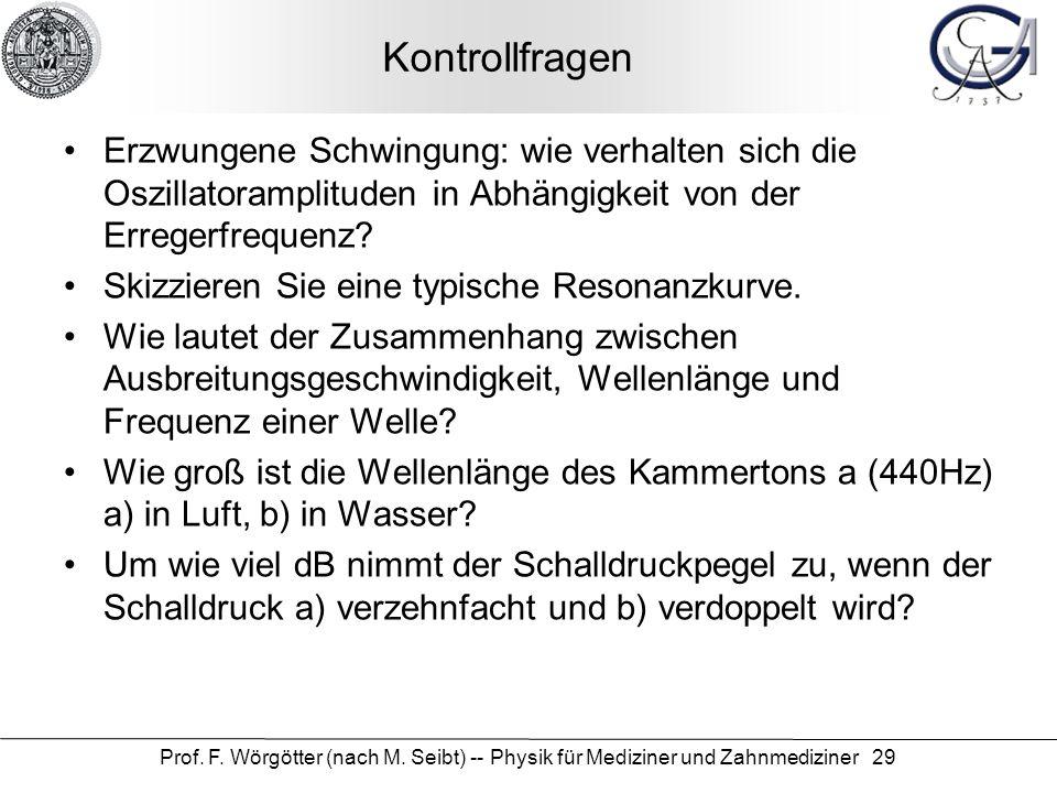 Prof. F. Wörgötter (nach M. Seibt) -- Physik für Mediziner und Zahnmediziner 29 Kontrollfragen Erzwungene Schwingung: wie verhalten sich die Oszillato