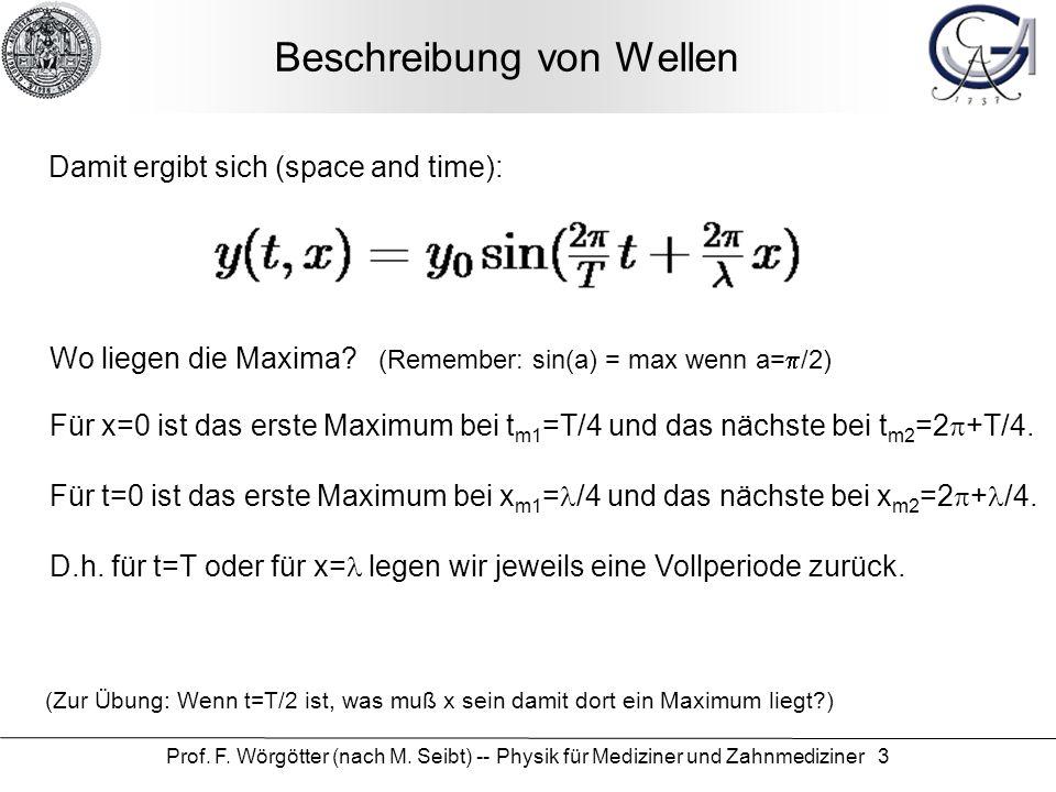 Prof. F. Wörgötter (nach M. Seibt) -- Physik für Mediziner und Zahnmediziner 3 Beschreibung von Wellen Damit ergibt sich (space and time): Wo liegen d