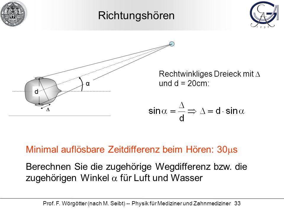 Prof. F. Wörgötter (nach M. Seibt) -- Physik für Mediziner und Zahnmediziner 33 Richtungshören Minimal auflösbare Zeitdifferenz beim Hören: 30 s Berec