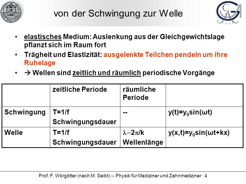 Prof. F. Wörgötter (nach M. Seibt) -- Physik für Mediziner und Zahnmediziner 4 von der Schwingung zur Welle elastisches Medium: Auslenkung aus der Gle