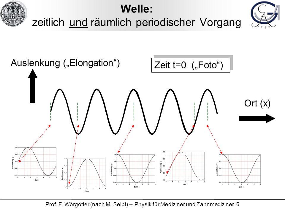 Prof. F. Wörgötter (nach M. Seibt) -- Physik für Mediziner und Zahnmediziner 6 Welle: zeitlich und räumlich periodischer Vorgang Zeit t=0 (Foto) Ausle