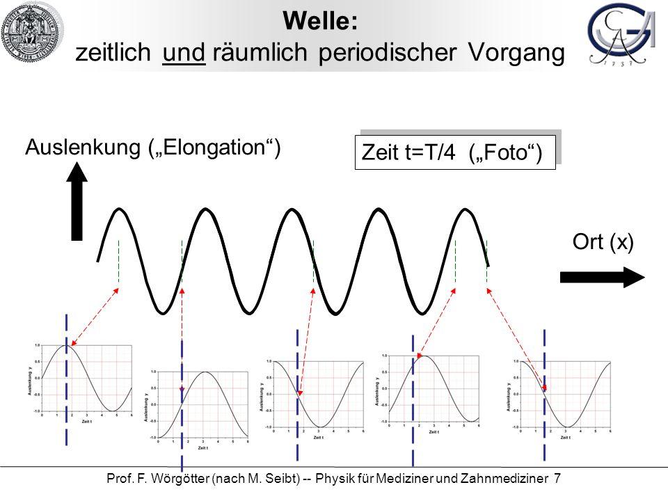 Prof. F. Wörgötter (nach M. Seibt) -- Physik für Mediziner und Zahnmediziner 7 Welle: zeitlich und räumlich periodischer Vorgang Zeit t=T/4 (Foto) Aus