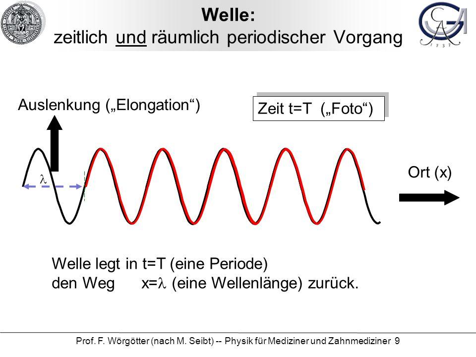 Prof. F. Wörgötter (nach M. Seibt) -- Physik für Mediziner und Zahnmediziner 9 Welle: zeitlich und räumlich periodischer Vorgang Zeit t=T (Foto) Ausle