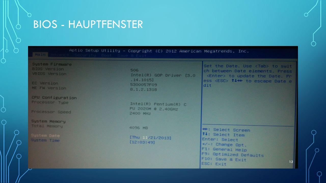 BIOS - HAUPTFENSTER 12