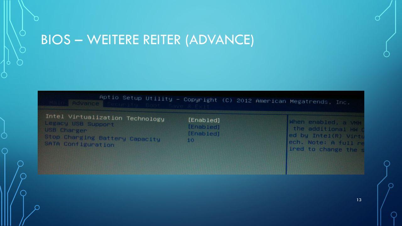 BIOS – WEITERE REITER (ADVANCE) 13
