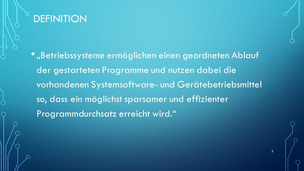 DEFINITION Betriebssysteme ermöglichen einen geordneten Ablauf der gestarteten Programme und nutzen dabei die vorhandenen Systemsoftware- und Gerätebe