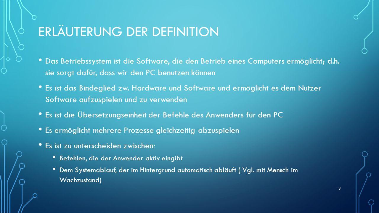 ERLÄUTERUNG DER DEFINITION Das Betriebssystem ist die Software, die den Betrieb eines Computers ermöglicht; d.h. sie sorgt dafür, dass wir den PC benu