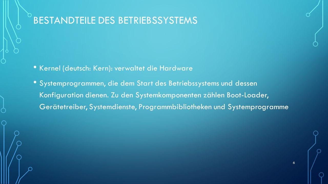 BESTANDTEILE DES BETRIEBSSYSTEMS Kernel (deutsch: Kern): verwaltet die Hardware Systemprogrammen, die dem Start des Betriebssystems und dessen Konfigu