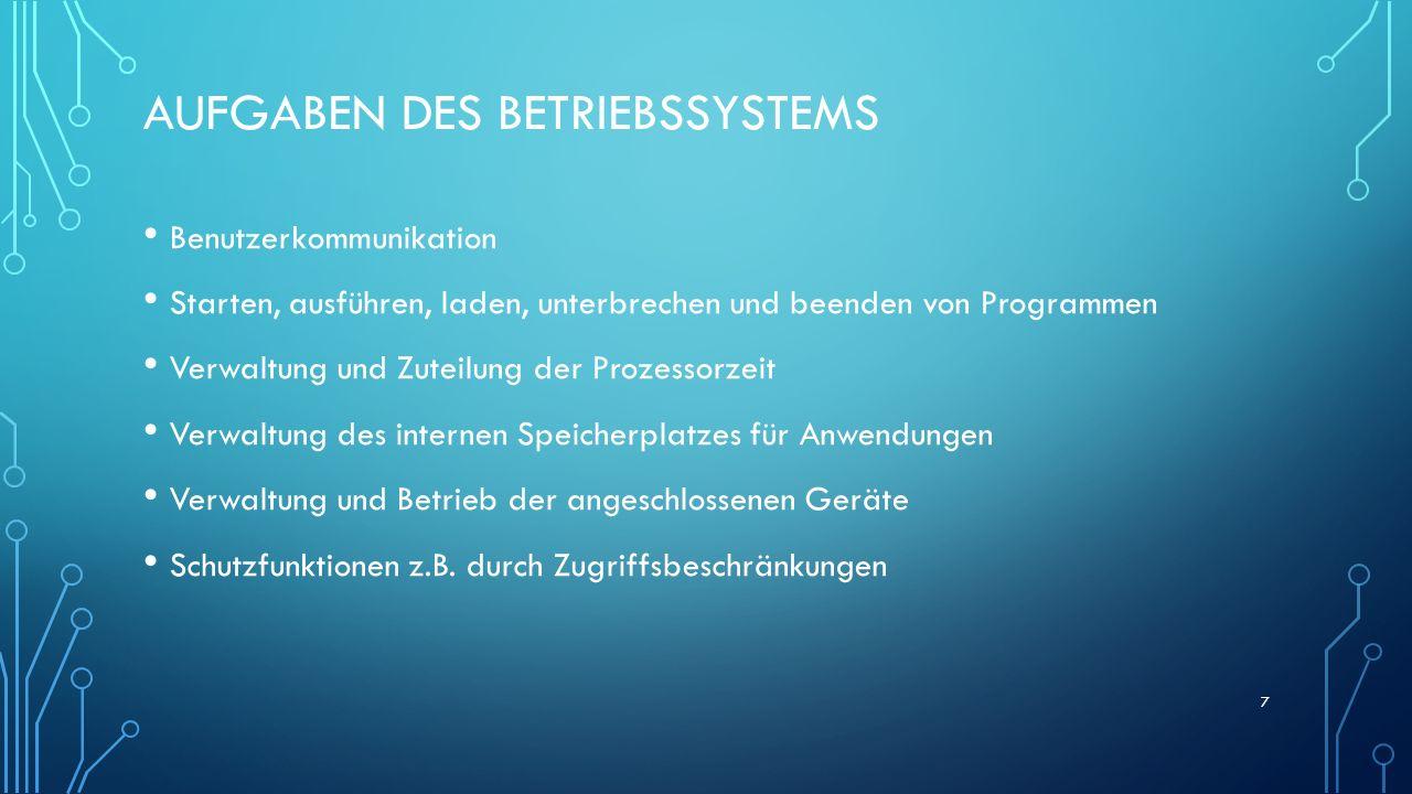 AUFGABEN DES BETRIEBSSYSTEMS Benutzerkommunikation Starten, ausführen, laden, unterbrechen und beenden von Programmen Verwaltung und Zuteilung der Pro