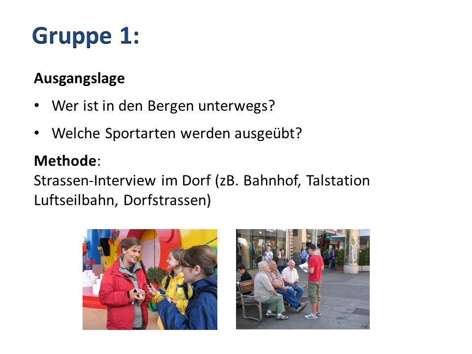 Ausgangslage Wer ist in den Bergen unterwegs? Welche Sportarten werden ausgeübt? Methode: Strassen-Interview im Dorf (zB. Bahnhof, Talstation Luftseil
