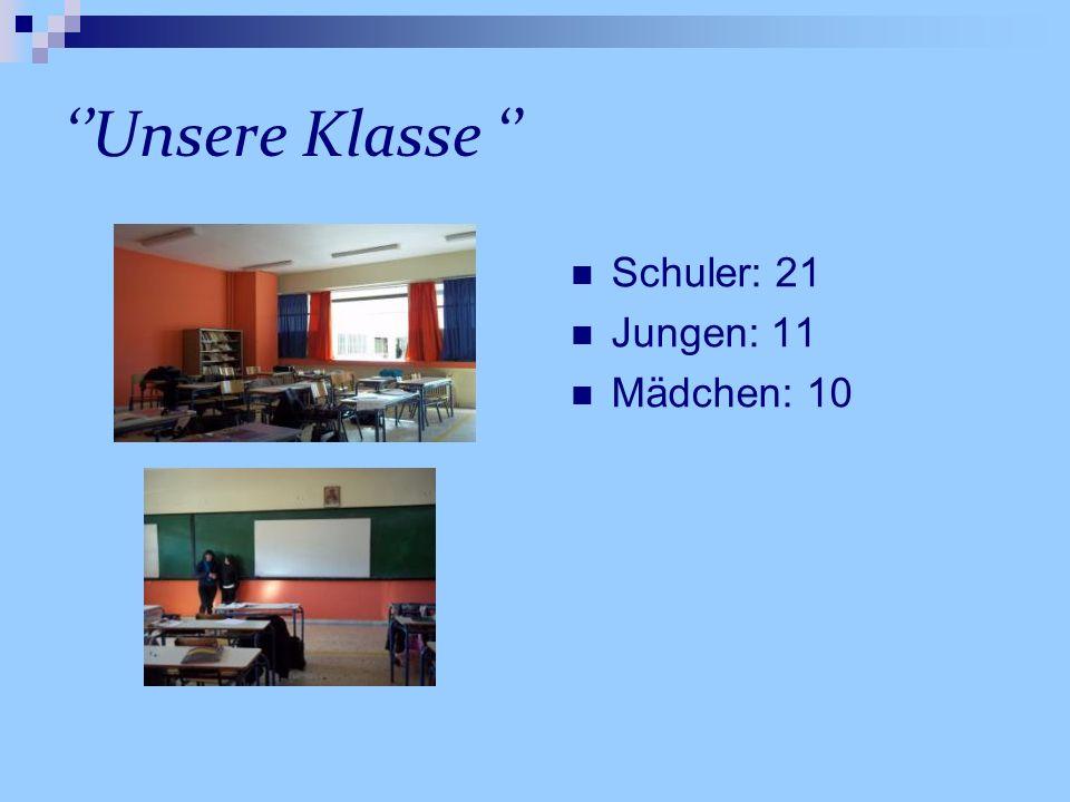 Unsere Klasse Schuler: 21 Jungen: 11 Mädchen: 10
