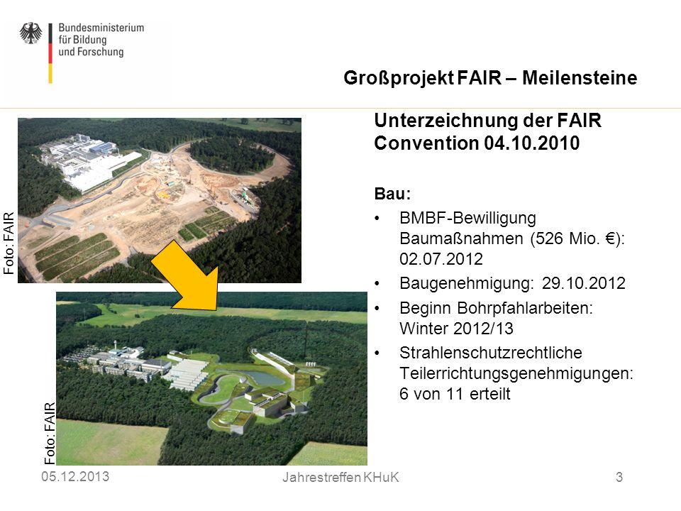 Großprojekt FAIR – Meilensteine Foto: FAIR Unterzeichnung der FAIR Convention 04.10.2010 Bau: BMBF-Bewilligung Baumaßnahmen (526 Mio. ): 02.07.2012 Ba