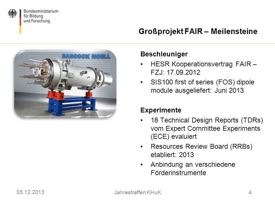 Großprojekt FAIR – Meilensteine Beschleuniger HESR Kooperationsvertrag FAIR – FZJ: 17.09.2012 SIS100 first of series (FOS) dipole module ausgeliefert: