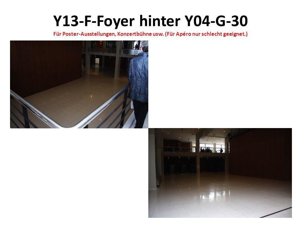 Y13-F-Foyer hinter Y04-G-30 Für Poster-Ausstellungen, Konzertbühne usw. (Für Apéro nur schlecht geeignet.)