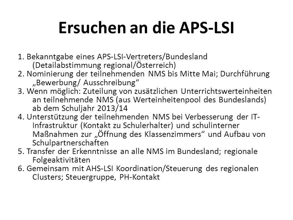 Ersuchen an die APS-LSI 1. Bekanntgabe eines APS-LSI-Vertreters/Bundesland (Detailabstimmung regional/Österreich) 2. Nominierung der teilnehmenden NMS