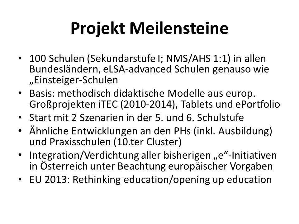 Projekt Meilensteine 100 Schulen (Sekundarstufe I; NMS/AHS 1:1) in allen Bundesländern, eLSA-advanced Schulen genauso wie Einsteiger-Schulen Basis: me
