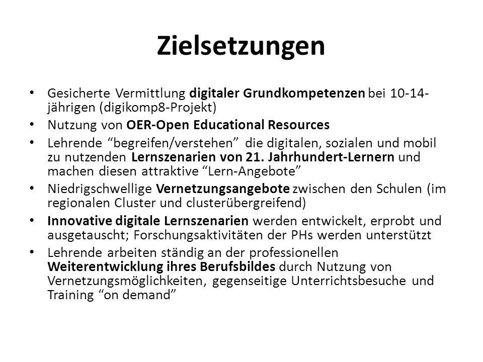 Zielsetzungen Gesicherte Vermittlung digitaler Grundkompetenzen bei 10-14- jährigen (digikomp8-Projekt) Nutzung von OER-Open Educational Resources Leh
