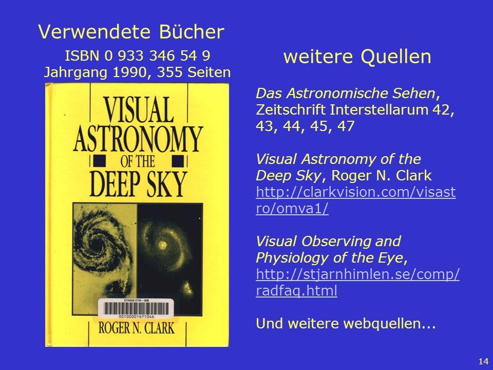 14 Verwendete Bücher ISBN 0 933 346 54 9 Jahrgang 1990, 355 Seiten weitere Quellen Das Astronomische Sehen, Zeitschrift Interstellarum 42, 43, 44, 45,