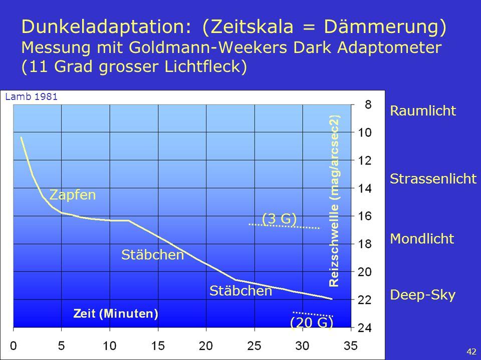 42 Dunkeladaptation: (Zeitskala = Dämmerung) Messung mit Goldmann-Weekers Dark Adaptometer (11 Grad grosser Lichtfleck) Strassenlicht Raumlicht Deep-S