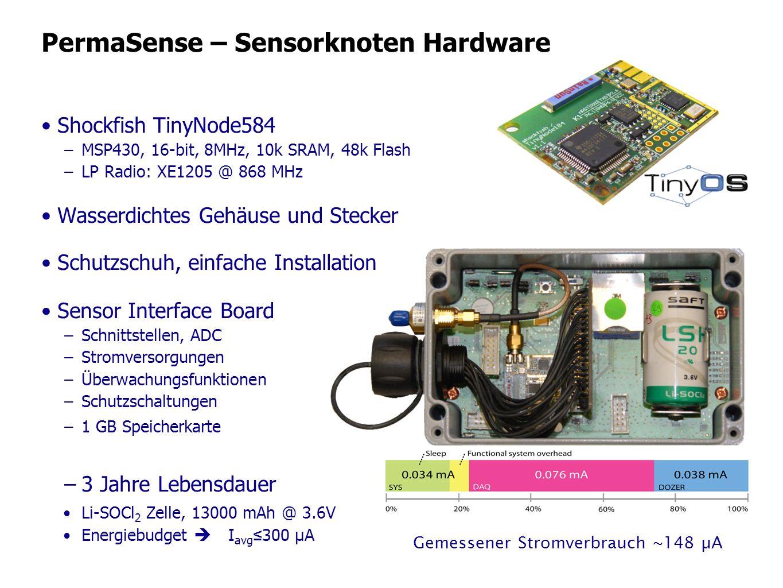 PermaSense – Sensorknoten Hardware Shockfish TinyNode584 –MSP430, 16-bit, 8MHz, 10k SRAM, 48k Flash –LP Radio: XE1205 @ 868 MHz Wasserdichtes Gehäuse