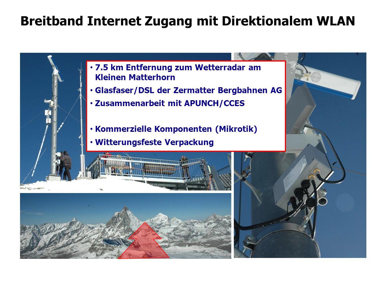 Breitband Internet Zugang mit Direktionalem WLAN 7.5 km Entfernung zum Wetterradar am Kleinen Matterhorn Glasfaser/DSL der Zermatter Bergbahnen AG Zus