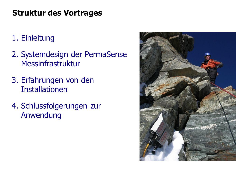 Struktur des Vortrages 1.Einleitung 2.Systemdesign der PermaSense Messinfrastruktur 3.Erfahrungen von den Installationen 4.Schlussfolgerungen zur Anwe