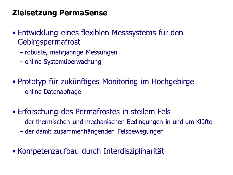 Zielsetzung PermaSense Entwicklung eines flexiblen Messsystems für den Gebirgspermafrost –robuste, mehrjährige Messungen –online Systemüberwachung Pro