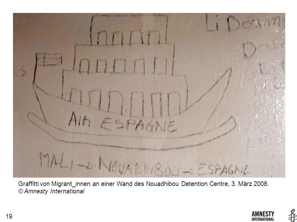 19 Graffitti von Migrant_innen an einer Wand des Nouadhibou Detention Centre, 3.