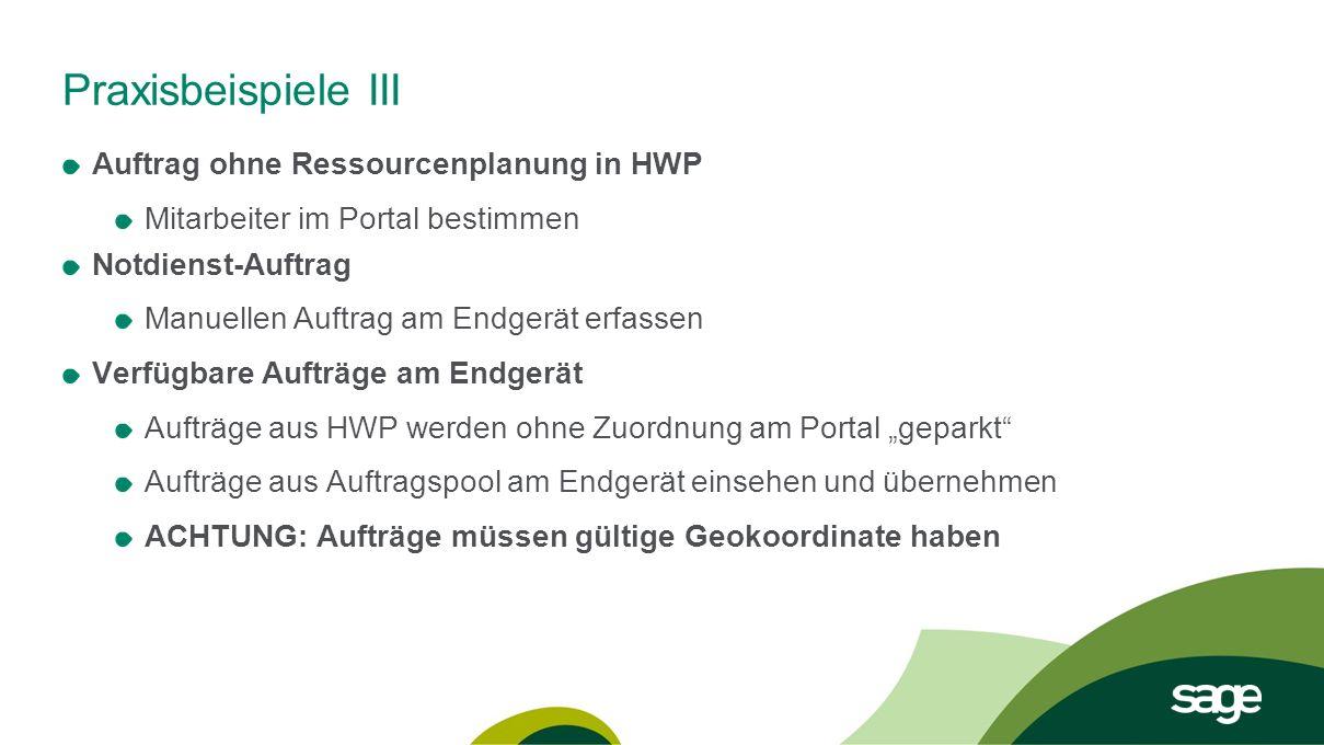 Praxisbeispiele III Auftrag ohne Ressourcenplanung in HWP Mitarbeiter im Portal bestimmen Notdienst-Auftrag Manuellen Auftrag am Endgerät erfassen Ver
