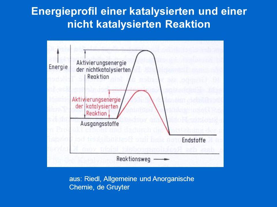 Energieprofil einer katalysierten und einer nicht katalysierten Reaktion aus: Riedl, Allgemeine und Anorganische Chemie, de Gruyter