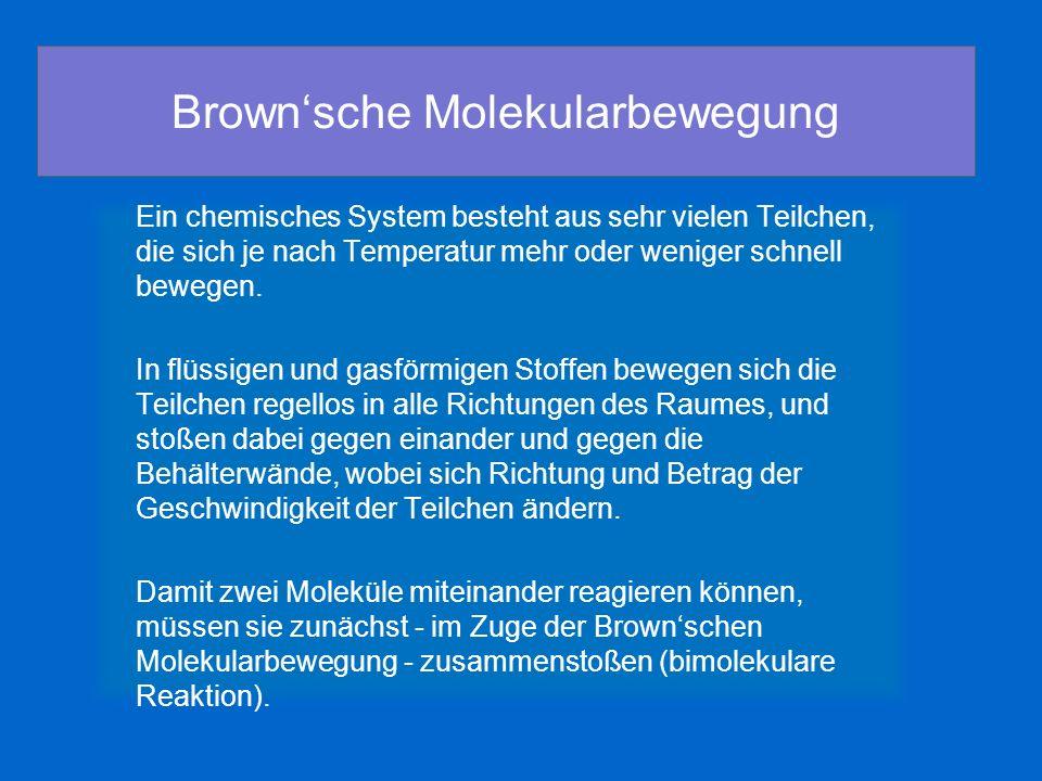 Brownsche Molekularbewegung Ein chemisches System besteht aus sehr vielen Teilchen, die sich je nach Temperatur mehr oder weniger schnell bewegen. In